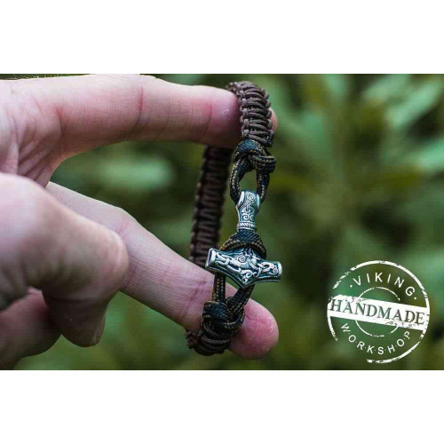 Paracord Bracelet with Silver Plated Mjolnir (Coffee+Military)